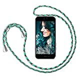 ZhinkArts Cadena para Teléfono Móvil Compatible con Apple iPhone 7 Plus / 8 Plus - Funda con Collar de Cordón para Smartphone - Carcasa con Correa para Celular para Llevar - Menta Camuflaje