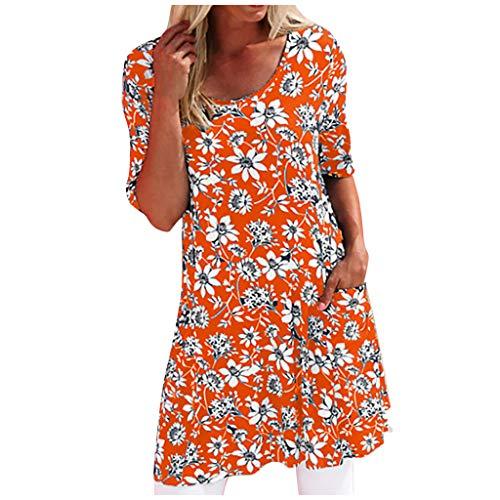 KUDICO Damen Blumen Gedruckt Knielange Kleider Kurzarm Sommerkleid Rundhalsausschnitt Strandkleid A-Line T Shirt KleidFreizeitkleid mit Taschen(Orange,5XL)