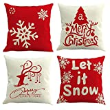Gspirit 4 Pack Feliz Navidad Algodón Lino Throw Pillow Case Funda de Almohada para Cojín 45x45 cm