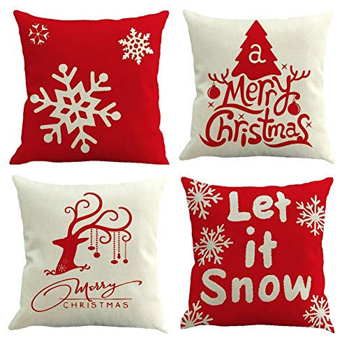 Gspirit 4 Pack Feliz Navidad Algodón Lino Throw Pillow Case Funda de...