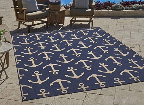 Gertmenian 21262 Nautical Tropical Rug Outdoor Patio, 5x7 Standard, Anchor Navy