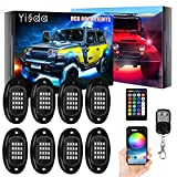 【Brightness Upgraded】 YISSDA RGB LED Rock Lights 128LEDs, Multicolor Neon Underglow Lighting Kit with APP/RF Control Music Mode for Jeep Truck UTV SUV, Waterproof, with Long Extension Cord, 8 Pods