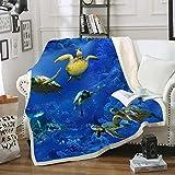 Blanket Direct Super Soft Twin/Full Size sea Turtle blanket Plush Fleece blanket, 60' x 80' (sea Turtle)