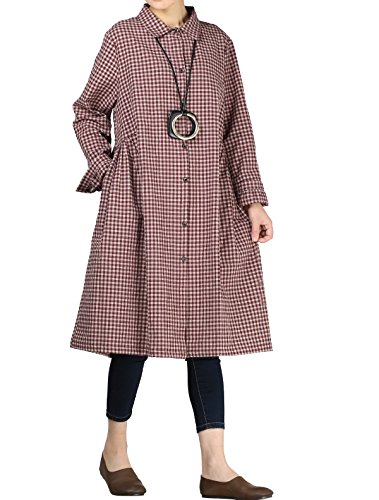 Mordenmiss Women's Check Plaid A-Line Flare Pleated Shirt Dress with Pockets XL Red