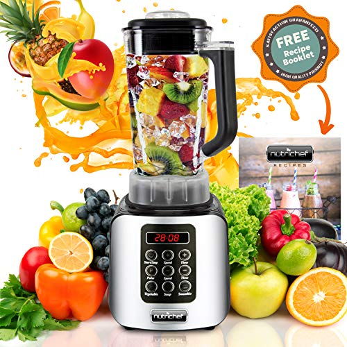 NutriChef Home Kitchen Digital Countertop Blender with Pulse Blend, Adjustable Time & Speed Settings, One size, Assorted