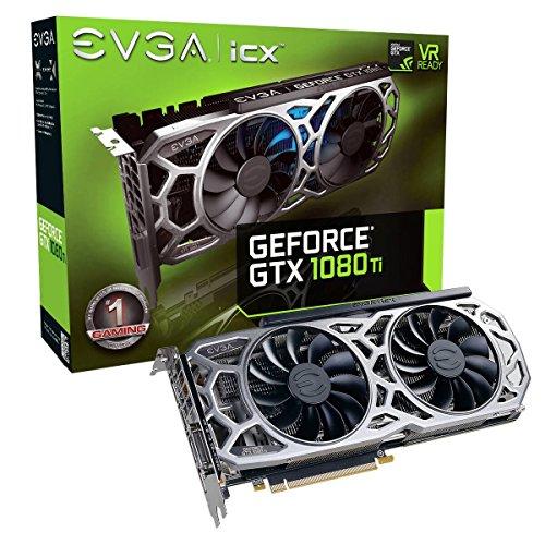 EVGA GeForce GTX 1080 Ti SC2 Gaming, 11 GB GDDR5X, tecnología iCX - 9 sensores térmicos y LED RGB G / P / M, Ventilador Asynch, optimizada para diseño de Flujo de Aire, Tarjeta gráfica 11G-P4-6593-KR