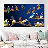 N / A Artistic Colored Bird Landscape Oil Painting Poster On Branch Print Mural for Living Room...