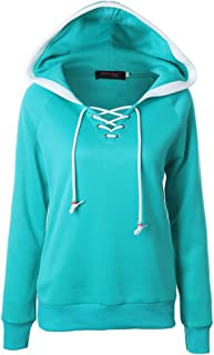 WenWenXiaoPu Ladies Casual Solid Color Long-Sleeved Shirt Round Neck Casual Hoodie