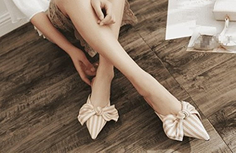 AWXJX Sommersaison Frauen Flip Flip Flip Flops Wies Stripe Fein mit Baotou Atmungsaktiv Aprikose 6 US 36 EU 3.5 UK  8701cd