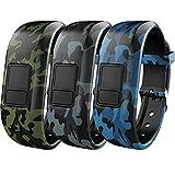 iBREK for Garmin Vivofit 3/jr/jr 2 Bands, Adjustable Replacement Wristbands with Watch Buckle for Kids Women Men(No Tracker)-3 Pack:Green&Gray&Blue Camo