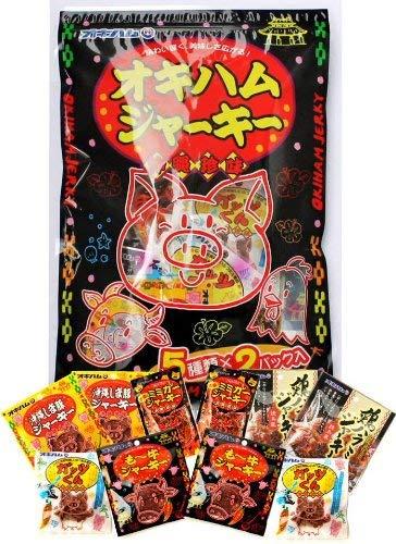 オキハムジャーキー 5種類×各2袋入りパック×5袋 オキハム も〜牛・鶏ハラミ・しま豚・激辛ミミガー・ガッツくん 人気の珍味を一度に楽しめる贅沢セット 沖縄土産にもおすすめ