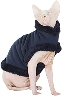 Khemn LUXURY丨HANDMADE丨Furry Super-Warm Cat Sweater Cat Pajamas with Double-Thick Fleece-Best for Hairless Cat, 3 Colors