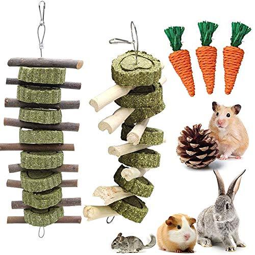 Hase Kauspielzeug, 6 Stück Kaninchenspielzeug,Natürliche Apfelsticks Zähneknirschen Spielzeug für Kaninchen Chinchillas Meerschweinchen Hamster Ratten Kauen Spielen Verbessern die Zahngesundheit