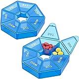Weekly Pill Organizer,Portable Pill Box Medicine case (Seven Day) New Edition for Vitamin/Fish Oil/Pills/Supplements-Arthritis Friendly (Blue)