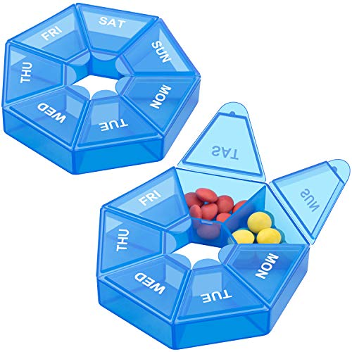 Weekly Pill Organizer, 2 Pack Portable Pill Box Medicine case (Seven Day) New Edition for Vitamin/Fish Oil/Pills/Supplements-Arthritis Friendly (Blue)