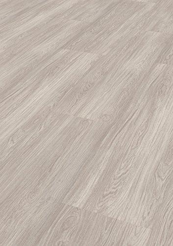 1 Paket (3,00 m²) PVC Bodenbelag / Vinylboden zum Klicken / wasserfest - Esche polarweiß