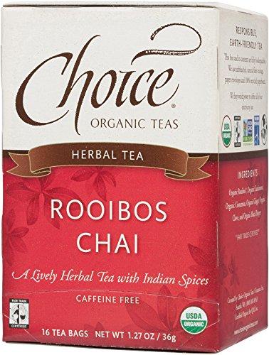 Choice Organic Teas Herbal Tea, 16 Tea Bags, Rooibos Chai, Caffeine Free