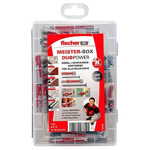 fischer MEISTER-BOX DUOPOWER kurz / lang mit Schraube, vorsortierte Dübelbox mit 150 Schrauben & DUOPOWER Dübeln, universelles Set für zahlreiche Baustoffe und Befestigungen