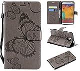 THRION Samsung Galaxy Note 3 Hülle, PU Schmetterling Brieftaschenetui mit magnetischer Handschlaufe und Ständerhalterung für Samsung Galaxy Note 3, Grau