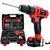 TEENO Cordless Drill Driver set with 2 Lithium Ion 21V Batteries 1500mAh, 1Hr Fast Charger, 25pcs Accessories Included, 3/8''Chuck Impact Fanction