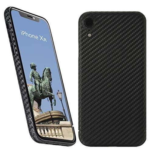 VIVERSIS Funda de Carbono Real para iPhone XR, Negro Mate, Ultra Fina, Muy Ligera, Robusta, de Carga inalámbrica, Premium - Hecho a Mano en Alemania