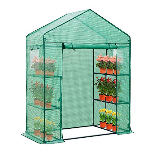 EAGLE PEAK 61'' x 28'' x 79'' Walk-in Greenhouse, 2 Tier 4 Shelves Portable...