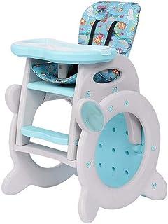 一流の技量はあなたの子供に異なる楽しみをもたらします、買う価値があります 赤ちゃんダイニングチェア、ベビーハイチア、コンバーチブルプレイテーブルセット、リムーバブルフィードトレイ、ロック可能なホイールレイクブルー付きのブースターロッキングシート