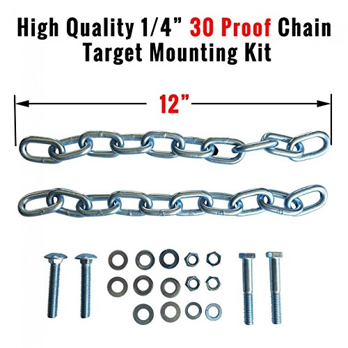 ShootingTargets7 Chain Target Hanging Straps Pair 12 inch | with Hardware Kit for Mounting AR500 Steel Shooting Targets | Use with Most Target Stands