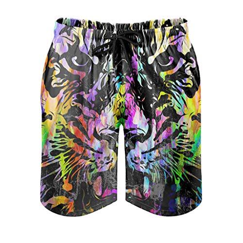 Ballbollbll Pantalones cortos para hombre, diseño de tigre con bolsillos con cremallera, para gimnasio, elásticos, de verano, de playa, de secado rápido, con forro de malla