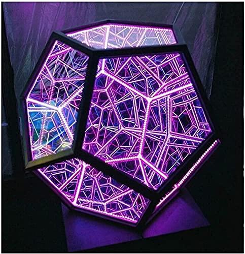 YHQKJ Luz de duecahedrón Infinita Fresca Creativa, Espacio en Espiral de Arte DIRIGIÓ Luz de Noche, luz de Color Ajustable for lámpara de Mesa Decoración de la atmósfera de la Fiesta