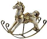 dekojohnson - Caballo balancín decorativo vintage – nostalgia decoración de Navidad – oro antiguo sobre columpios de metal – 25 cm grande