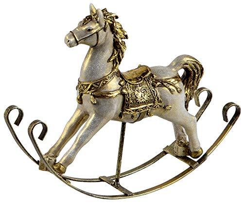 dekojohnson - Statuetta decorativa a forma di cavallo a dondolo, stile vintage, colore: oro anticato su altalena in metallo, 25 cm