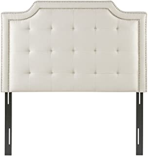 Madison Park Doris Upholstered Button Tufted Scalloped Headboard Modern Contemporary Metal Legs Padded Bedroom Décor Accent, Queen, Cream