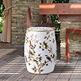 Ceramic Garden Stool-Oriental Chinese Style Side Table Heavy Duty Patio Sturdy Glazed Porcelain Stool for Indoor Outdoor Ceramic Decorative Garden (White Flower)