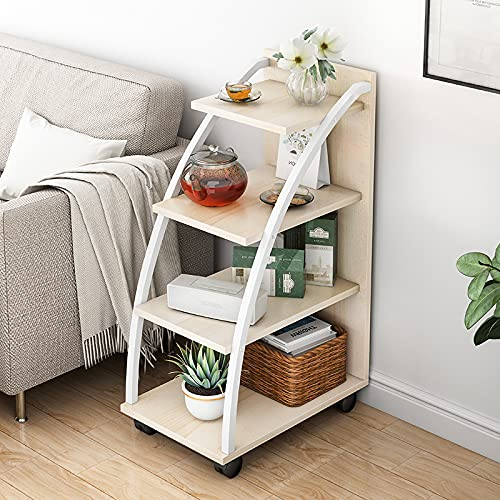 Kitchen Trolleys with Wheels and Storage, Tray, Rolling Square Nightstand, Small Snack Table, for Living Room, Kitchen, Bedroom, Industrial,Beige