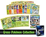 Pokemon Grass Collection - 50 Pokemon Cards Plus 5 Rare Grass Pokemon and 1 Grass Ultra-Rare Card Free pro Support Deck Box Include