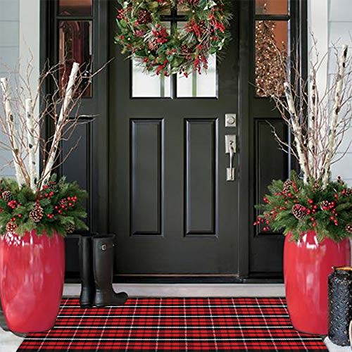 Buffalo Plaid Outdoor Rug Runner 24'' x51'', KIMODE Christmas Black/Red Cotton Woven Checkered Welcome Door Mat, Washable Indoor Floor Rugs for Porch Kitchen Bathroom Laundry Living Room Decor