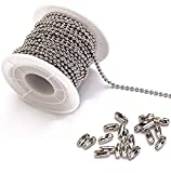 Tiparts 30 Feet Stainless Steel Ball Chains Necklace with 20pcs Connectors Clasps,Silver B...
