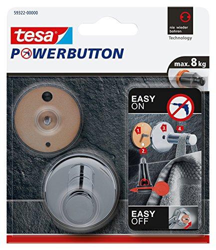 Tesa Powerbutton Haken (Universal Large) silber-glänzend