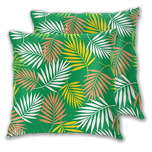 EASSEN Funda de cojín con diseño de hojas de palma tropicales, color verde, funda de almohada cuadrada decorativa para sofá, decoración del coche, 45,7 x 45,7 cm, juego de 2