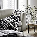 Cotton Knitted Throw Blankets Cozy Warm Soft Black and White 50'X70'for Sofa Chair Couch Decorative Throw Bed Blankets All Season
