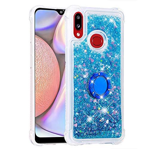 Coque pour Samsung Galaxy A10s,Brillante Cristal Diamant Anneau Socle de téléphone Liquide Dégradé Transparente Silicone TPU Étui Antichoc Coques(Amour Bleu)