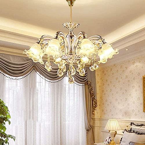 LATOO Lámparas de araña Ara?a De Estilo Europeo Flor De Ara?a De Cristal 89 * 89 * 60 Cm Creativo Hotel De Lujo Villa Hogar Luz Cálida Lámpara LED E14 * 10