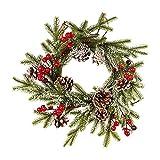 GREEN&RARE Guirnalda de puerta delantera, adorno artificial con hojas verdes, ramo de frutas rojas, agujas de pino, conos de pino blanco helado, Merry Christmas (40 cm), decoración del hogar