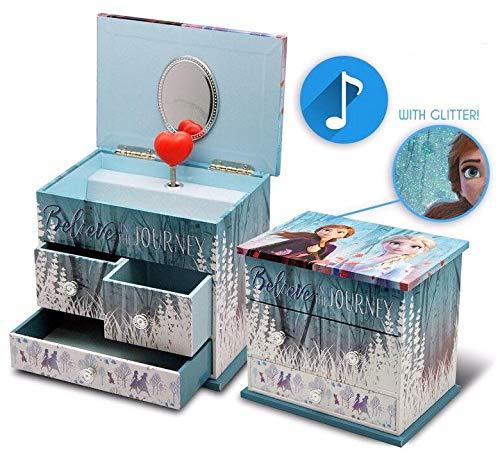 Disney La Reine des Eiskönigins Musik-Schmuckkästchen mit 3 Schubladen, 2 Schmuck-Organizern für den Kleiderschrank, Festival, Heimdekoration, Unisex, Erwachsene, Mehrfarbig, einzigartig