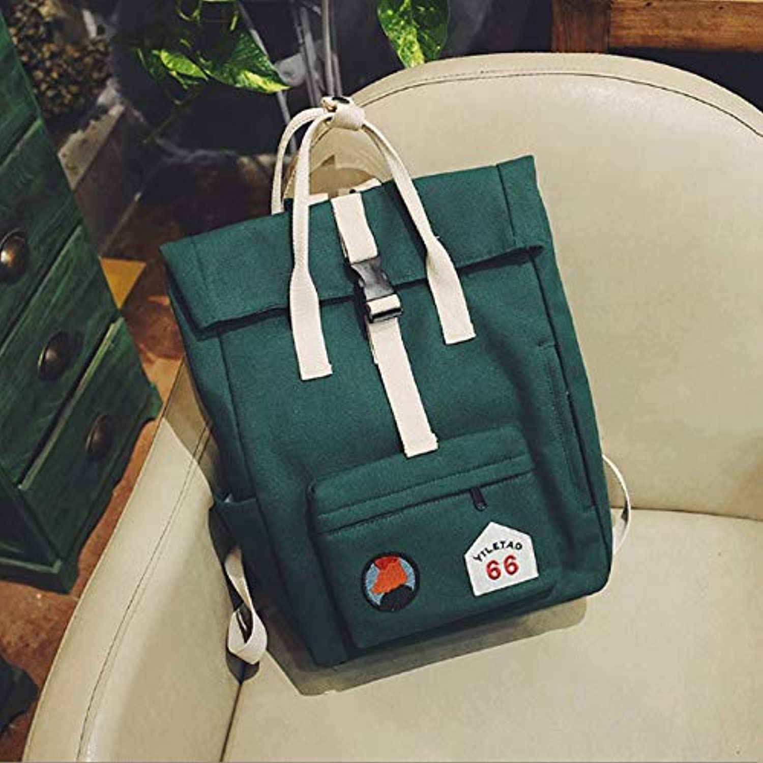GJ Backpack  Female The New Student Bag Campus Backpack Leisure Bag Pure color Sports Backpack Travel Bags (color   Green)