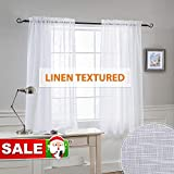 RYB HOME Semi-Sheer Linen Look Curtains Set - Rod Pocket Semi-Transparent...