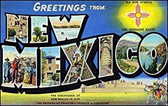 MAGNET 3x5 inch Vintage Greetings from New Mexico Sticker (Old Postcard Art Logo nm) Magnetic vinyl bumper sticker sticks to any metal fridge, car, signs