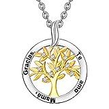ENGSWA Collar Mujer Plata de Ley 925 Colgante Árbol de la Vida Familiar Grabado Regalo para Madre Mamá
