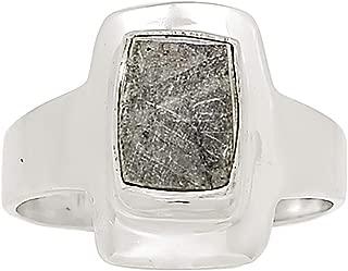 Muonionalusta Meteorite Sweden 925 Sterling Silver Ring Jewelry Size 7 25286R
